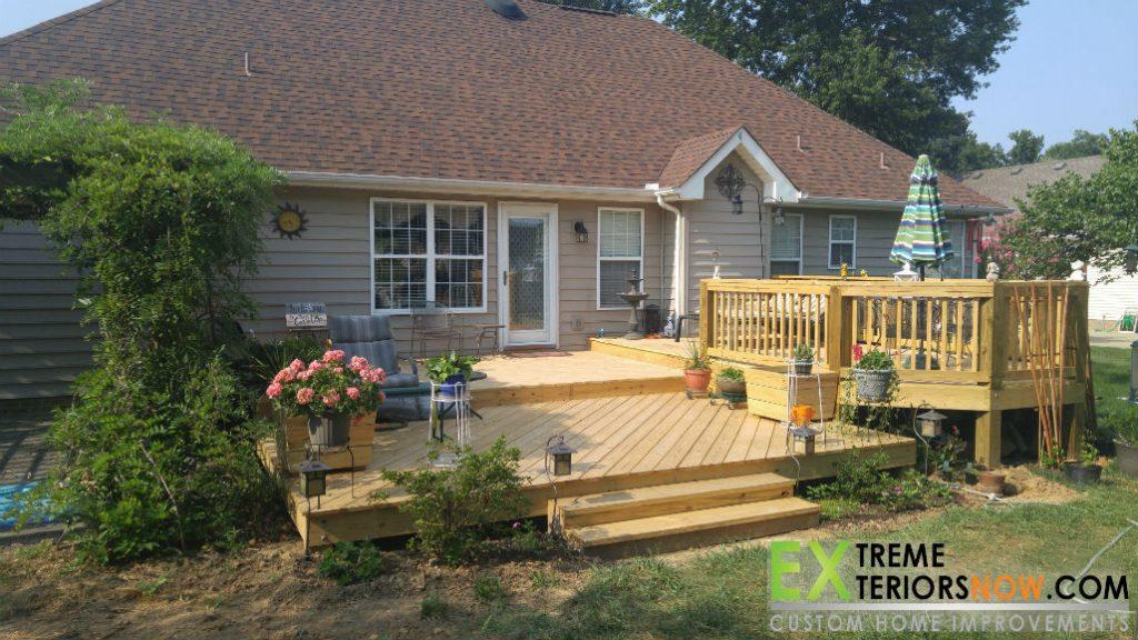 Multi-level open rear patio deck